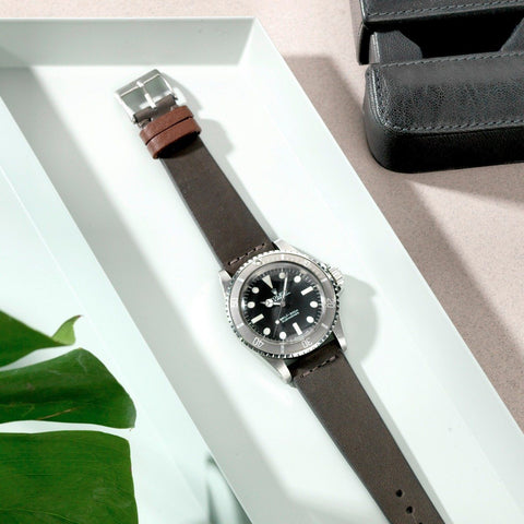 Rolex Refined Natural Piombo Grey Leather Watch Strap
