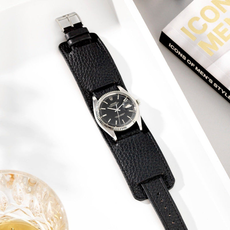 Rolex Newman Rich Black Leather Watch Strap
