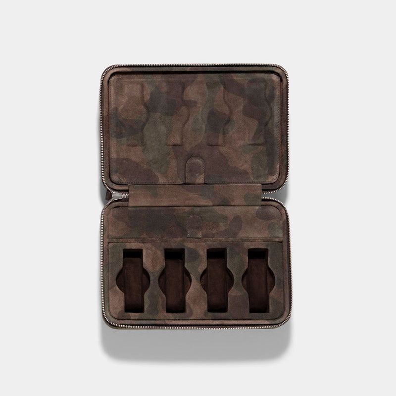 Brown Camo Suede Luxury Leather Watch Box