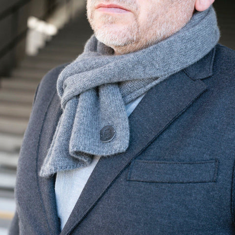 Bulang and Sons Grey Cashmere Pull Through Scarf