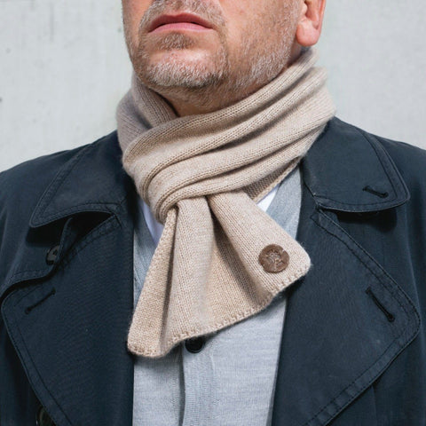 Bulang and Sons Beige Cashmere Pull Through Scarf
