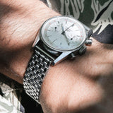 Heuer Beads Of Rice Straight End Link Steel Watch Bracelet