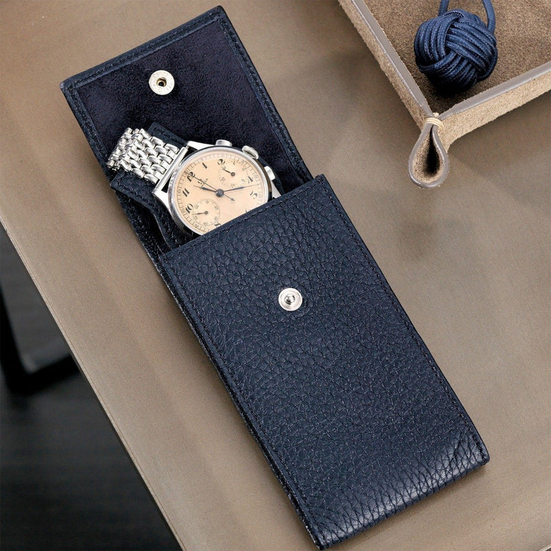 Oxford Blue Luxury Leather Watch Pouch
