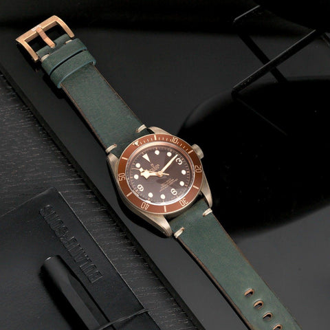 Tudor Bronze Perfect Match Vintage Green Leather Watch Strap