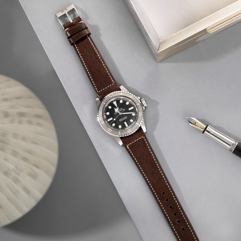 Rolex Seal Dark Brown Boxed Stitch Leather Watch Strap