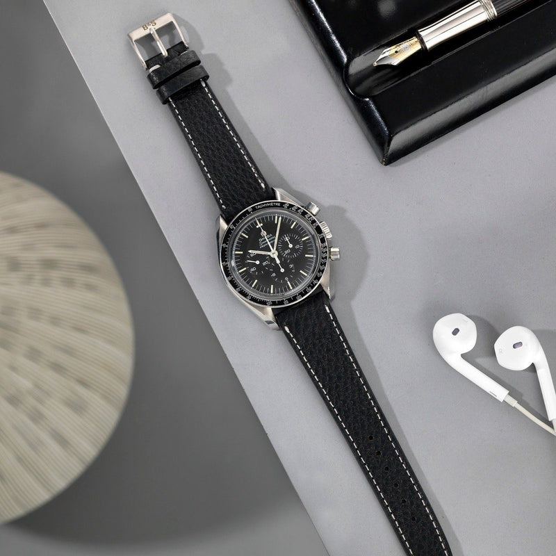 Omega Rich Black Creme Stitch Leather Watch Strap