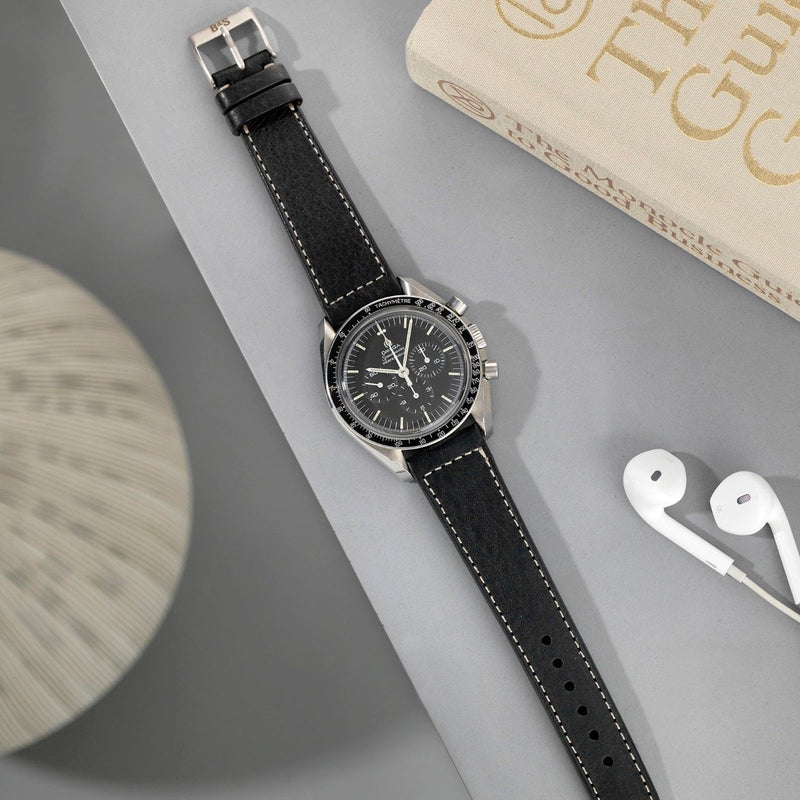 Omega Black Boxed Stitch Leather Watch Strap