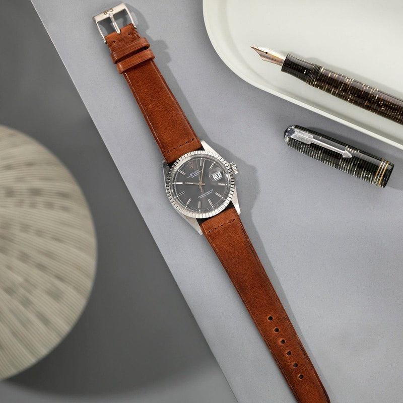 Rolex Siena Brown Extra Thin Leather Watch Strap