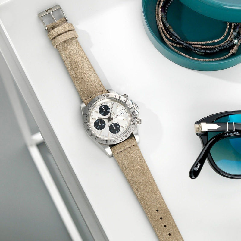 Tudor Concrete Grey Silky Suede Leather Watch Strap