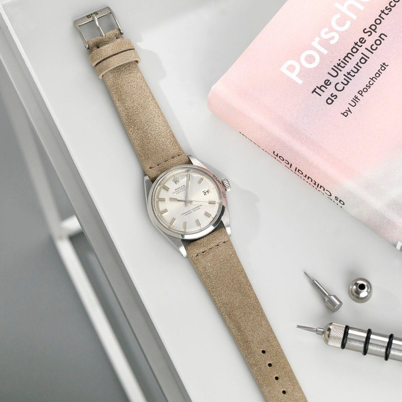 Rolex Concrete Grey Silky Suede Leather Watch Strap