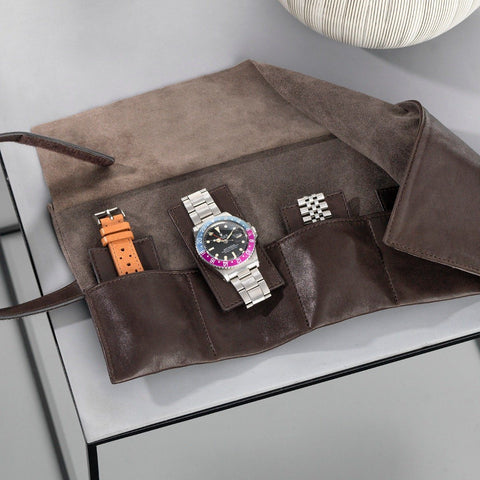 Dark Brown 6 Watches Leather Roll