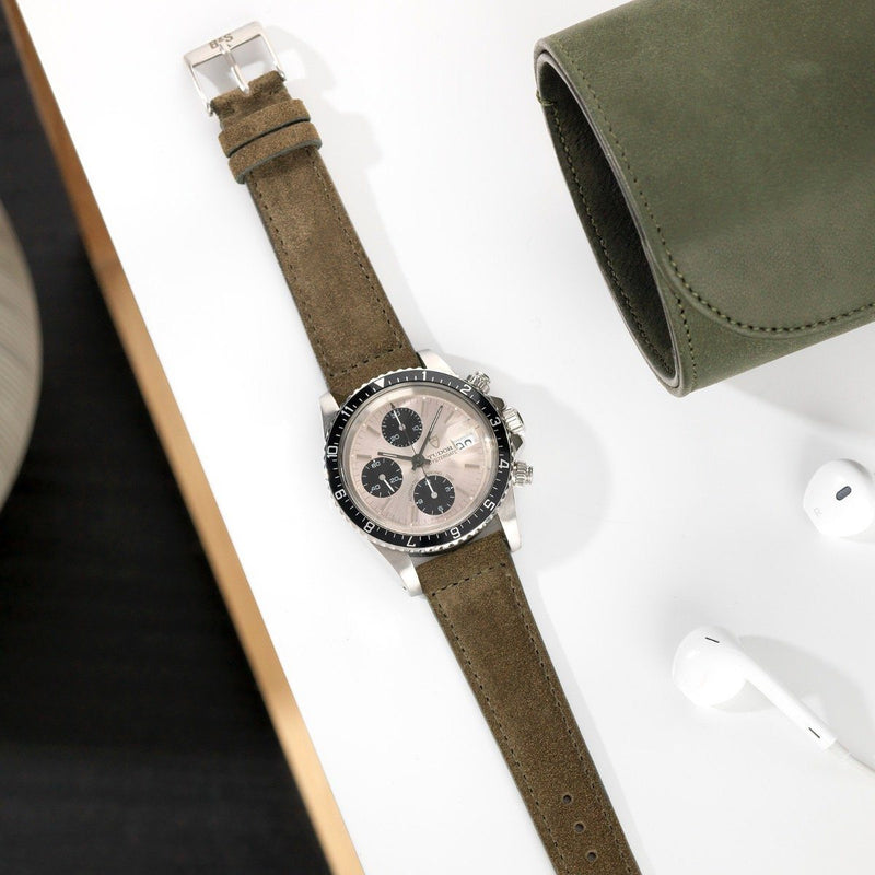 Tudor Dark Olive Green Suede Leather Watch Strap