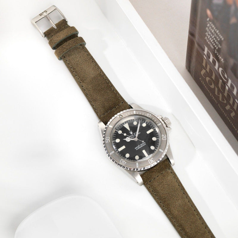 Rolex Dark Olive Green Suede Leather Watch Strap
