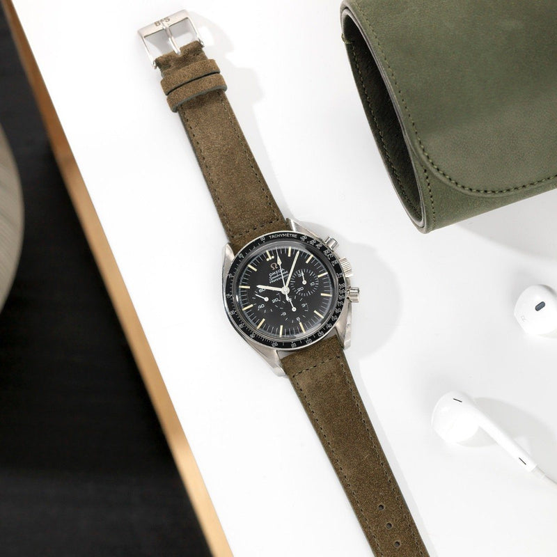 Omega Dark Olive Green Suede Leather Watch Strap