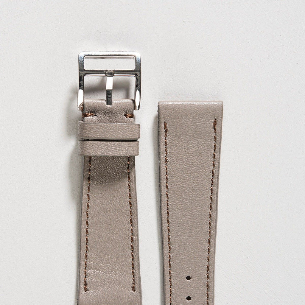 Light Taupe Grey Leather Watch Strap