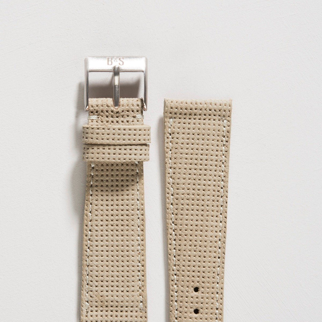 Punched Camel Suede Watch Strap