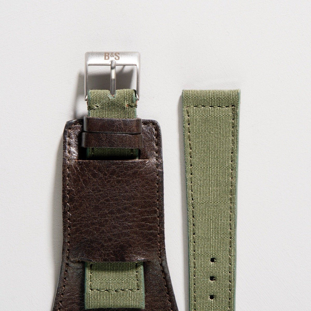 M-65 Seal Dark Brown Leather Watch Strap Set