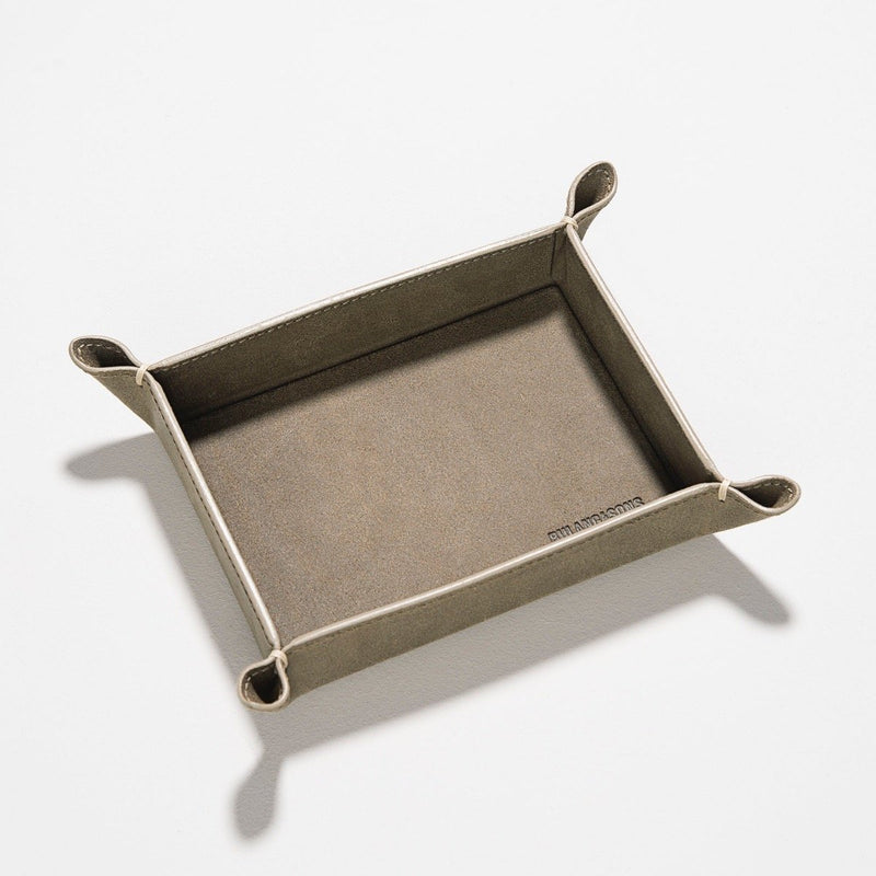 Grey Rugged Small Leather Valet Tray