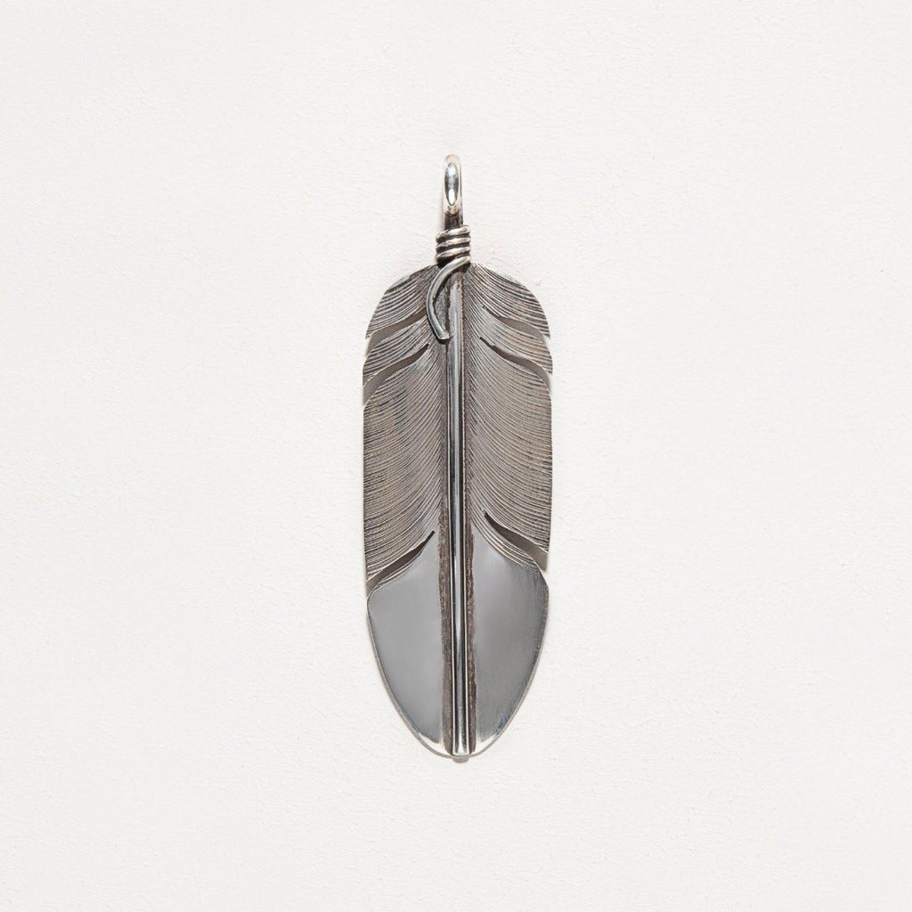 Navajo Silver Feather Pendant