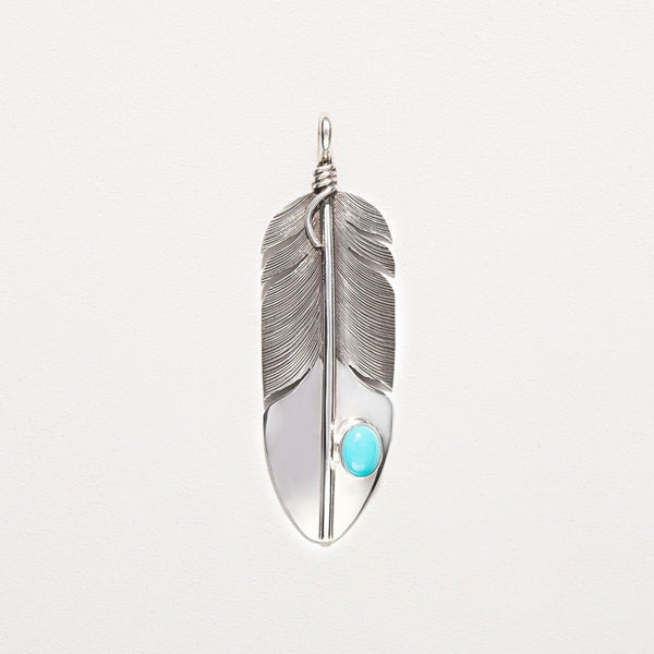 Navajo Turquoise Silver Feather Pendant