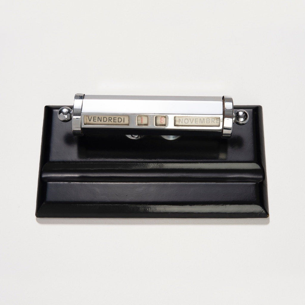 1960s Le Tanneur Leather And Chrome Perpetual Desk Calendar Tray
