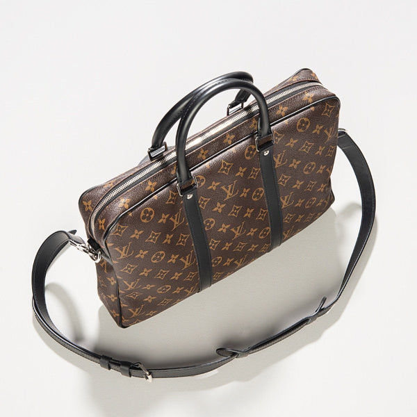 Louis Vuitton Porte-Documents Voyage PM Monogram Macassar Canvas Bag