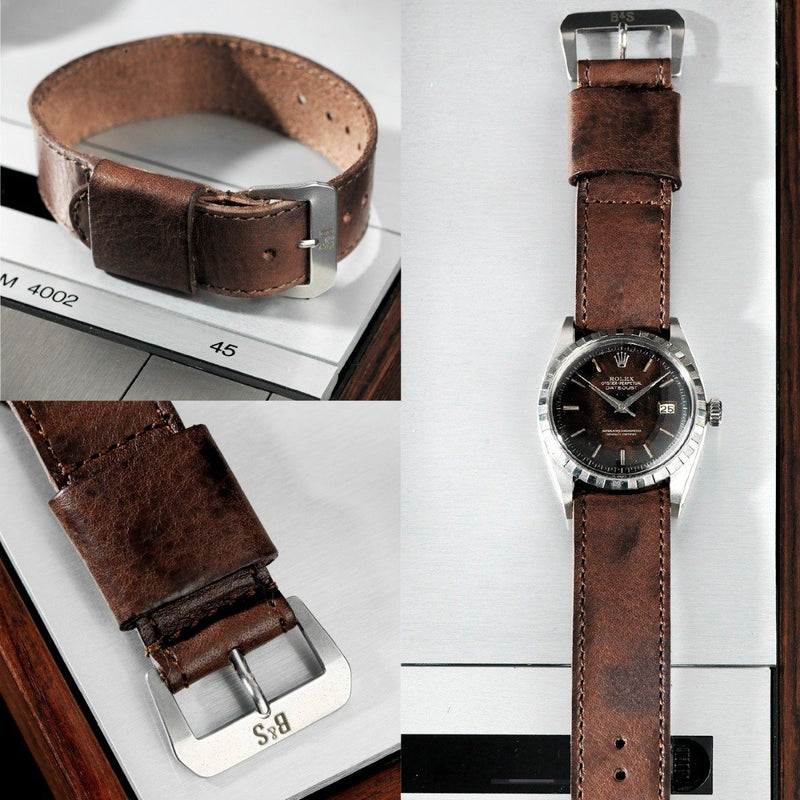 Rolex One Piece Nato Brown Lumberjack Leather Watch Strap