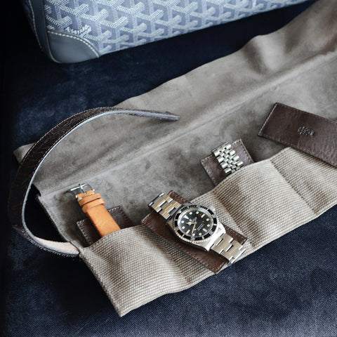 Grey Canvas 6 Watches Leather Roll