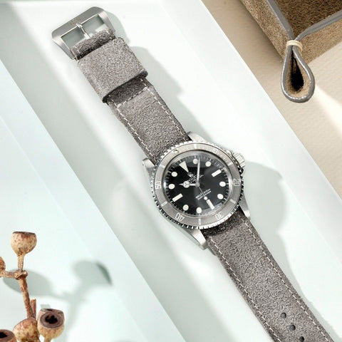 One Piece Nato Rugged Grey Leather Watch Strap