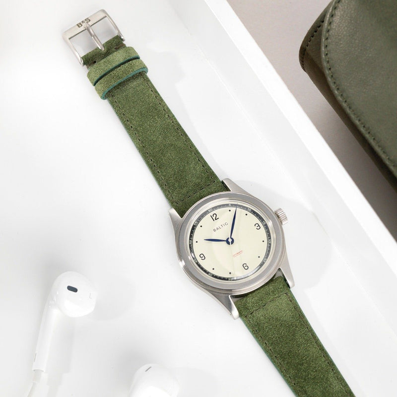 Baltic Olive Drab Green Suede Leather Watch Strap