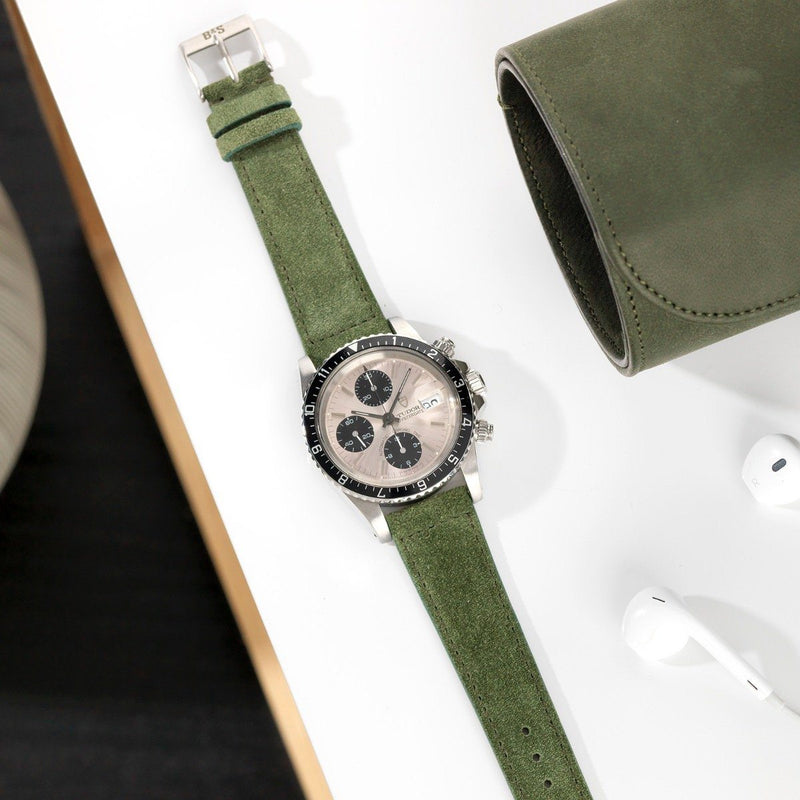 Tudor Olive Drab Green Suede Leather Watch Strap