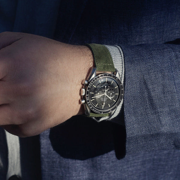 Omega Olive Drab Green Suede Leather Watch Strap