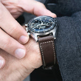 Omega Seal Dark Brown Boxed Stitch Leather Watch Strap