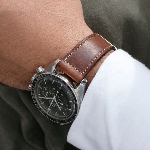 Omega Siena Brown Boxed Stitch Leather Watch Strap