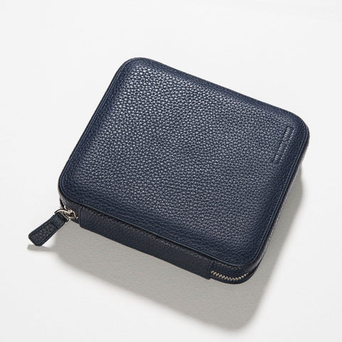 Oxford Blue 4 Watch Leather Zip Folder