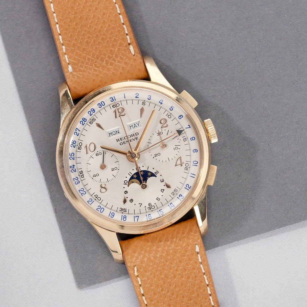 Record Triple Date Moonphase & Chronograph 1950s Valjoux 88
