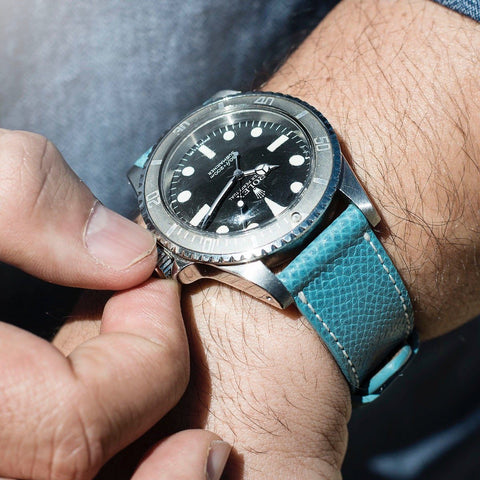 Rolex Pool Blue Leather Watch Strap