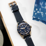 Tudor Bronze Perfect Match Blue Leather Watch Strap