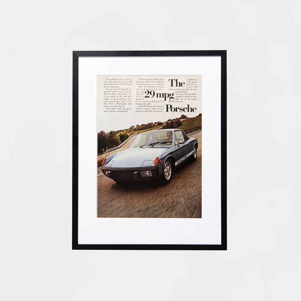 1970s Original Custom Framed Vintage Porsche Advertisement