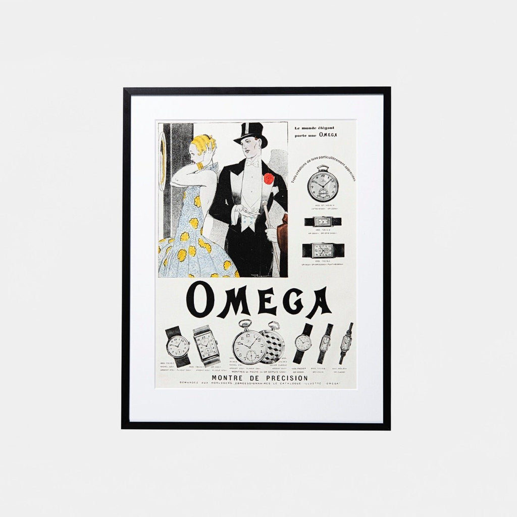 1920s Original Custom Framed Vintage Omega Advertisement