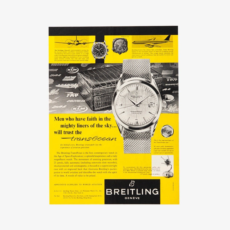OUT 1950s Original Custom Framed Vintage Breitling Advertisement