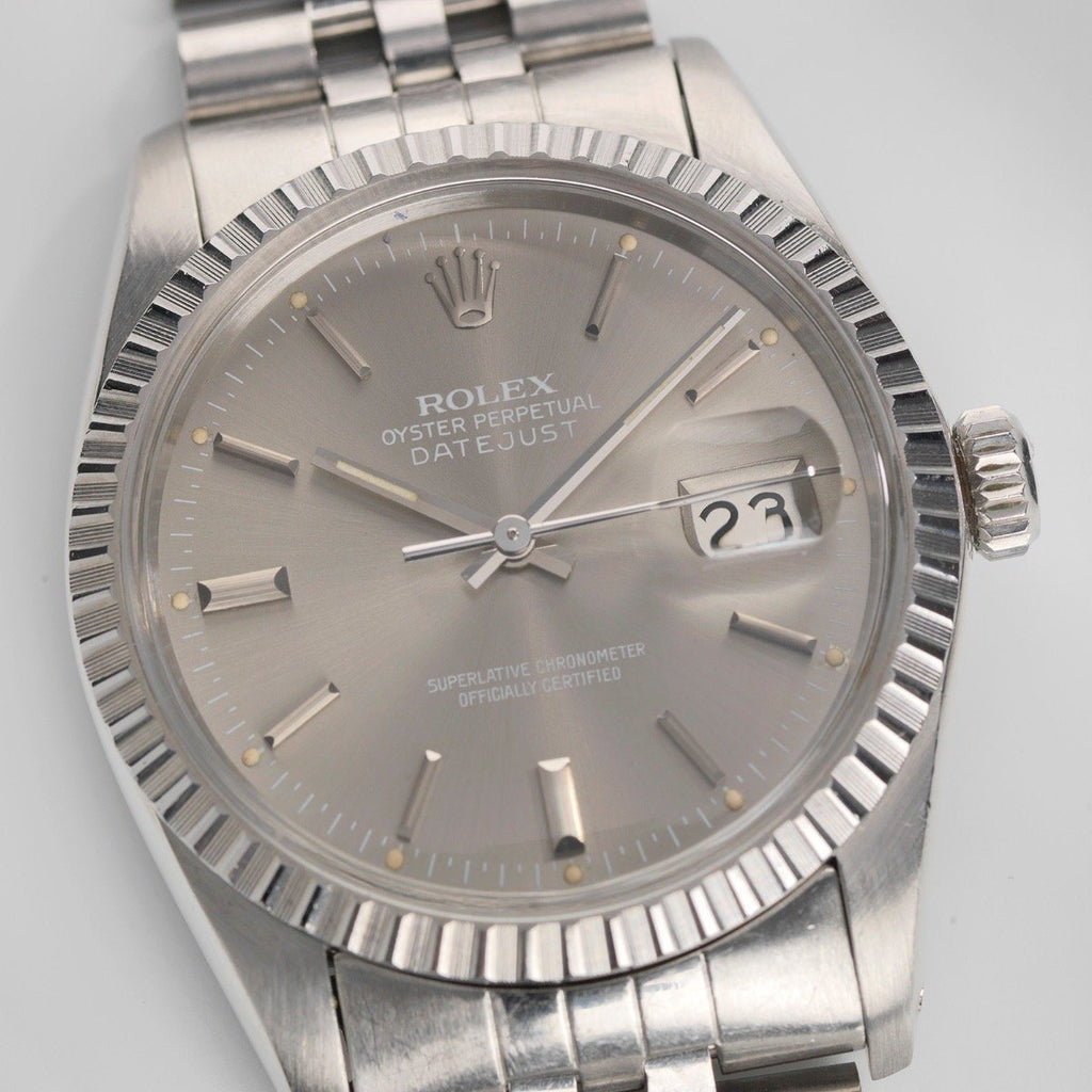 61d01a90f8f1 Rolex Datejust Quick Set Grey Dial 16030 – Bulang and Sons