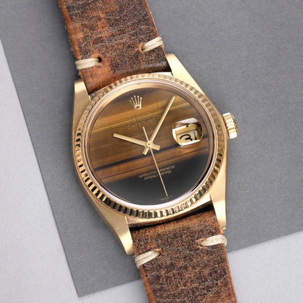 Rolex 16018 Datejust Tiger Eye 18K Yellow Gold