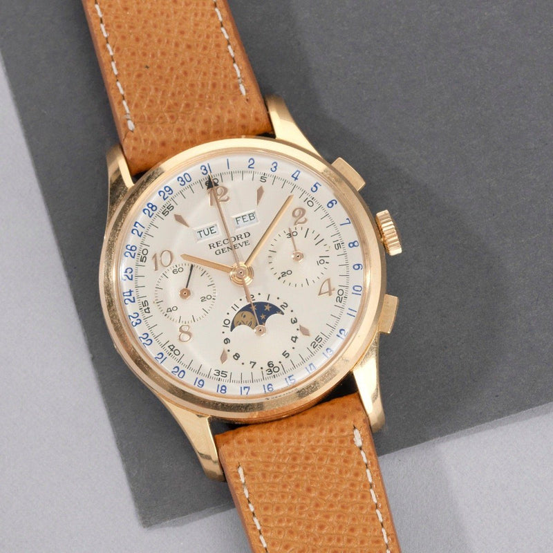 NOS 1950s Record Triple Date Moonphase Gold Chronograph Valjoux 88