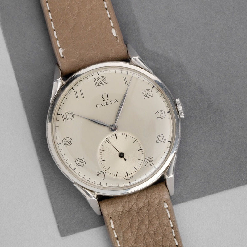Omega Steel Oversize Watch Ref 2603-7 from 1950s Large Case 38mm