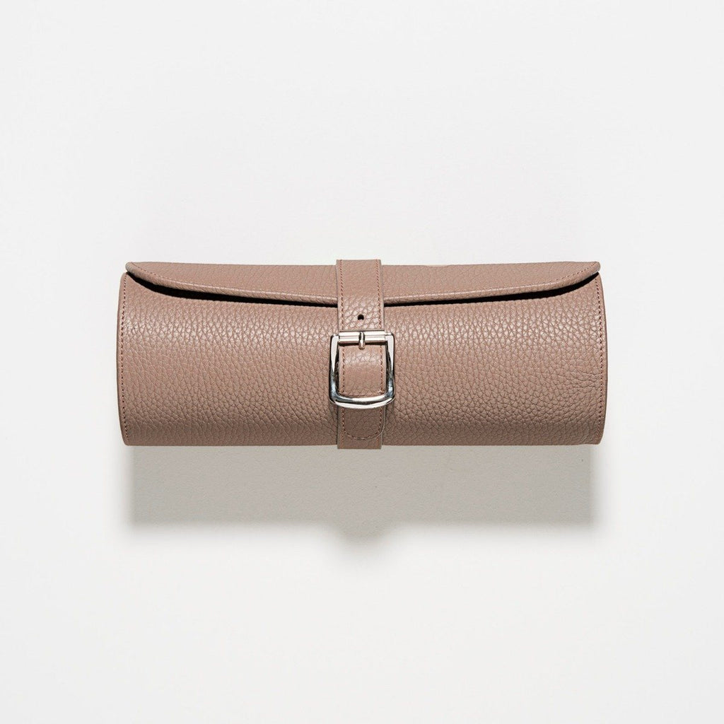 Taupe Grey 3 Watch Leather Tube