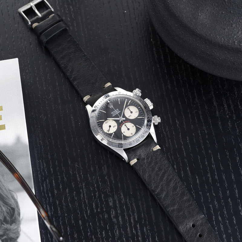 Rolex Black Leather Watch Strap