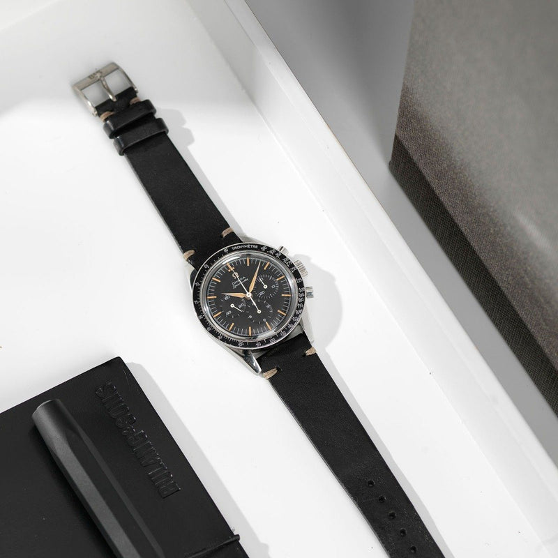 Omega Black Leather Watch Strap