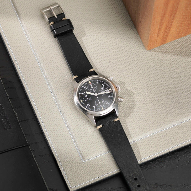 FWC Black Leather Watch Strap