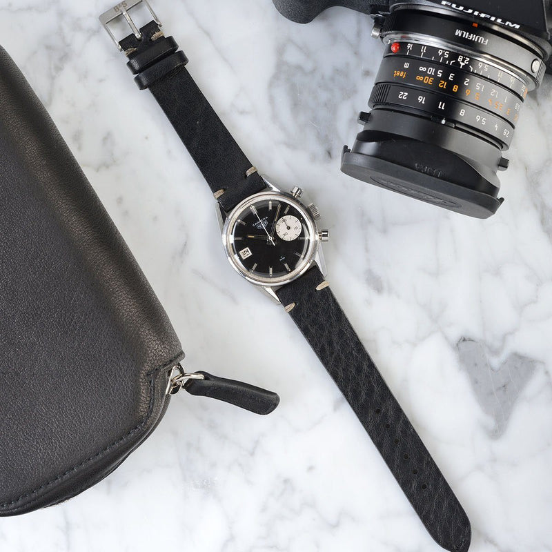 Heuer Black Leather Watch Strap
